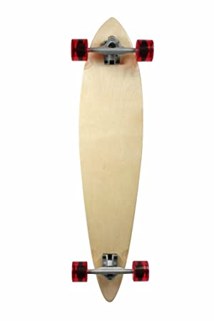 SCSK8 Natural Blank & Stained Complete Longboard Pintail Skateboard (Black, 40' x 9)
