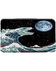 """Hokusai Great Wave Moon Bath Mat,Japanese Great Wave of Kanagawa Ocean Boat Mount Fuji Galaxy Bathroom Rug Decor,Bedroom Kitchen Toilet Rug,Soft Microfiber Memory Foam Bathroom Rugs 29.5"""" X 17.5"""""""