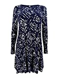 Lauren Ralph Lauren Women's Petite Printed Jersey A-Line Dress (2P, Light Navy)