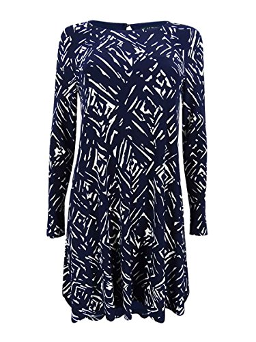 Lauren Ralph Lauren Women's Petite Printed Jersey A-Line Dress (2P, Light Navy) by Lauren by Ralph Lauren
