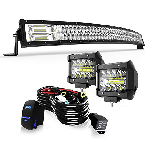 """TURBO SII 40/42"""" LED Light Bar Curved 5D 240W Flood Spot Combo Beam Led Bar W/ 2Pcs 4in 60W Off Road Driving Fog Lights with Wiring Harness-3 Leads for Jeep Trucks Polaris ATV Boats Lighting"""