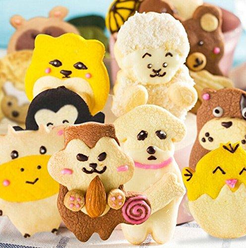 Sinrier - Juego de 10 cortadores de galletas de animales - ardillas, vacas, cacahuetes, perros, pollos, ovejas, hámsters, piratas, osos y gatos de civet ...