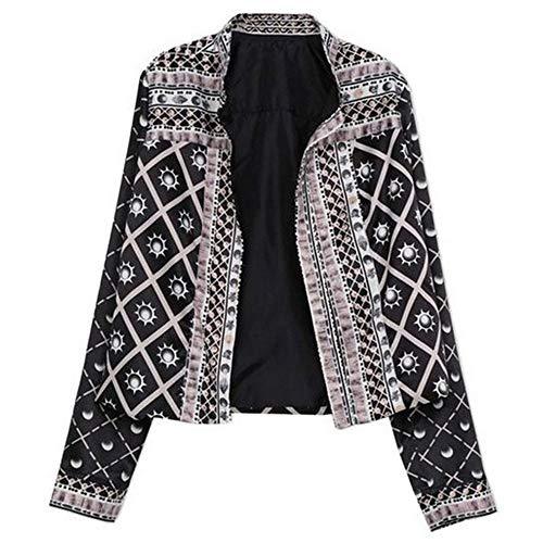 Longues Yuoita Imprimée Montant Automne Black Vestes Manteaux Veste Col Jacket Imprimé Femme Manteau Manches rrSwxPfqA