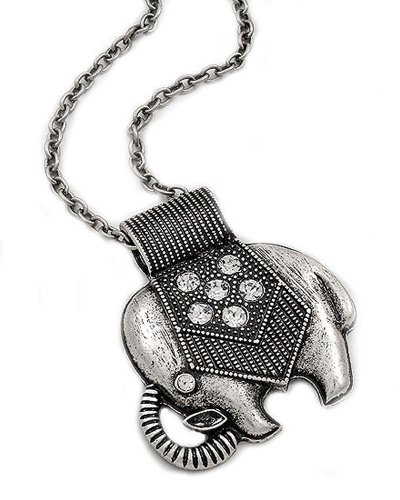 Silver Tone Elephant Pendant Necklace Clear Rhinestones Figural Animal Jewelry - Silver Tone Figural