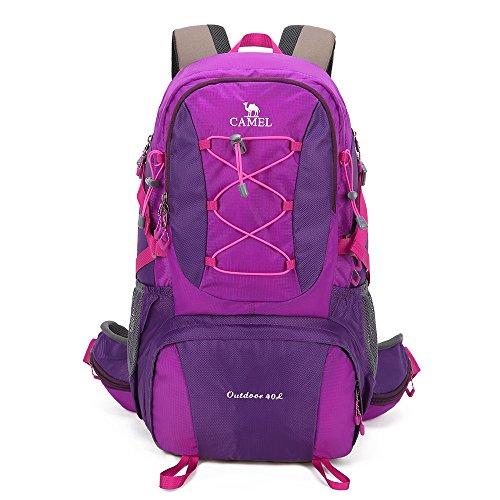 Camel 40L Lightweight Durable Outdoor Backpack Hiking Backpack Camping Backpack Sport Backpack (Purple) (Best Women's Backpack For Camino De Santiago)