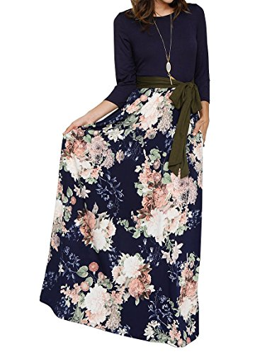 FISACE Womens Floral Tie Waist Striped Patchwork Maxi Dress 3/4 Sleeve Side Pocket Long Dress, Navy, X-Large ()