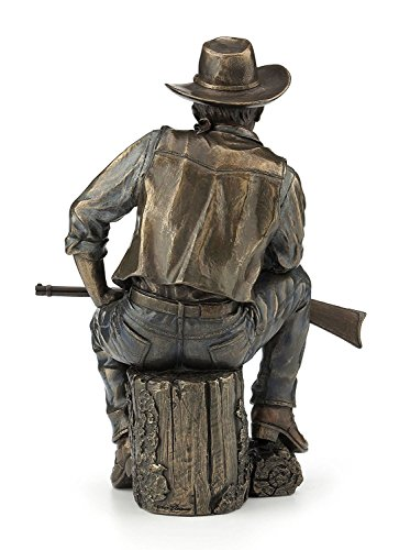 Cowboy Sitting On Log with Rifle Statue