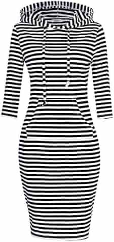 MISSKY Women Stripe Pocket Knee Length Slim Casual Pullover Hoodie Dress