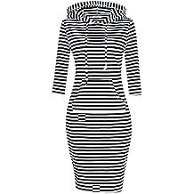 MISSKY Women Pullover Stripe Pocket Keen Length Slim Sweatshirt Causal Hoodie Dress