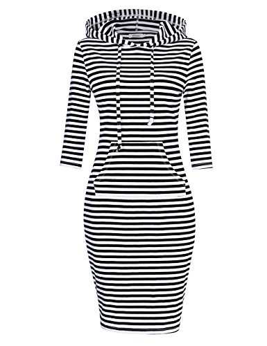 MISSKY Women Pullover Hoodie Dress Stripe Pocket 3/4 Long Sleeve Cotton Slim Keen Length Sweatshirt Dress Black-White L
