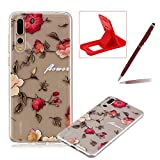 Rubber Case for Huawei P20 Pro,Herzzer Premium Stylish [Red Flower Printed] Scratch Resistant Ultra Thin Soft Gel Silicone Transparent Clear Crystal Slim Fit TPU Back Cover for Huawei P20 Pro