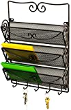 DecoBros Wall Mount 3 Tier Letter Rack Organizer w/ Key Holder, Bronze