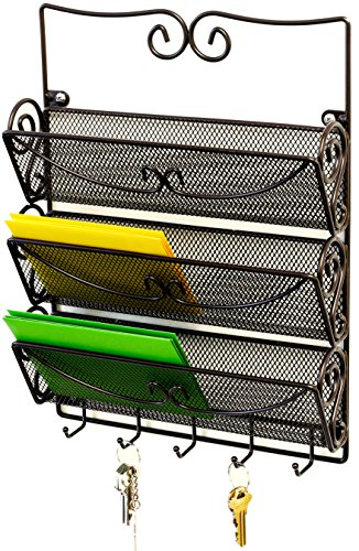 DecoBros Wall Mount 3 Tier Letter Rack Organizer w/Key Holder, - Mail Sorter Organizer