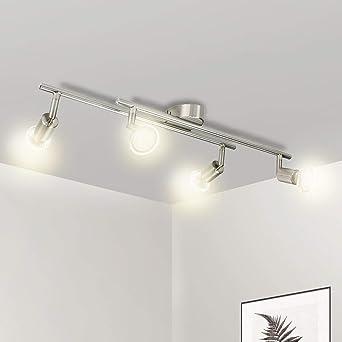 Wowatt Lampara de Techo Luz de Techo Plafon Focos Led GU10 4x 5W 420LM Blanco Cálido