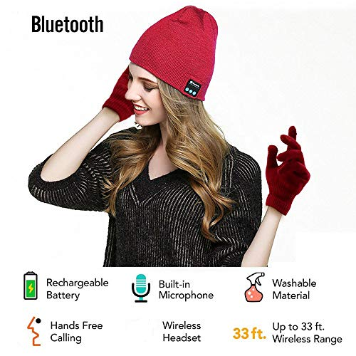 Security Bluetooth Beanie Hat + Touchscreen Gloves, Knitted Music Hat Built-in Stereo Speakers Winter Women and Man Hat for Outdoor Sports, Skiing,Running, Skating, Walking, Gifts (Red)