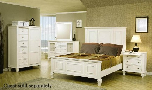 4pc Queen Size Bedroom Set Cape Cod Style In White Finish