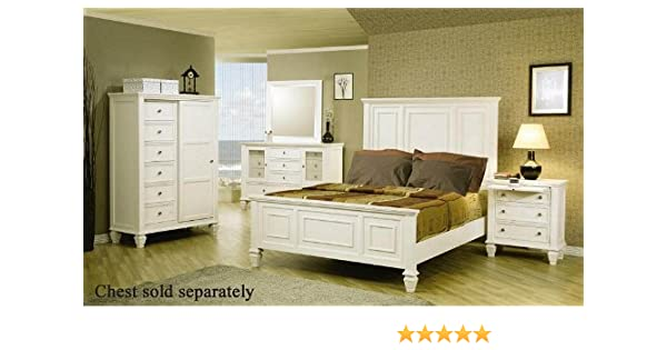 b013d4c5fae9 Amazon.com  Coaster Home Furnishings 4pc King Size Bedroom Set Cape Cod  Style in White Finish  Kitchen   Dining