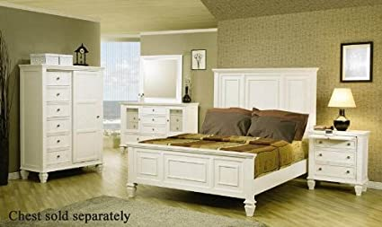 Great 4pc King Size Bedroom Set Cape Cod Style In White Finish