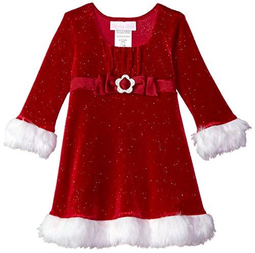 Bonnie Baby Baby Girls Santa Dress, red, 0-3 Months -