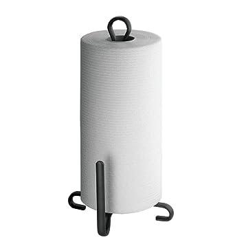 mDesign Soporte para rollo de papel de cocina - Portarrollos con base de apoyo - Práctico
