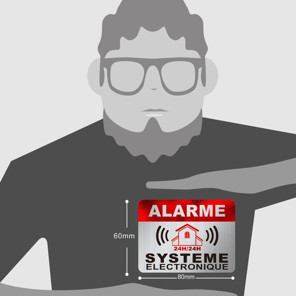 Autocollant Alarme dissuasifs Stickers Alarme s/écurit/é Haute qualit/é Apparence en Inoxydable 8x6cm Lot DE 12