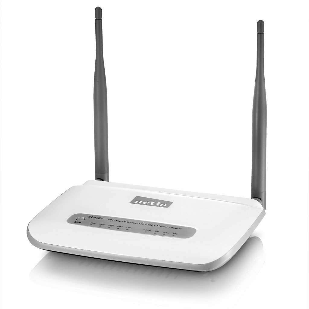 Netis DL4322 (CT3) Wireless N300 ADSL2+ Modem Router, 2.4Ghz 300Mbps, 802.11b/g/n, Splitter, 5dBi High Gain Antenna by Netis