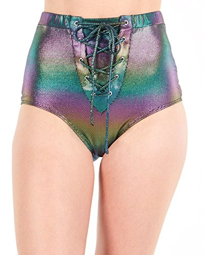 iHeartRaves Black Lace Up Holographic Shimmer High Waisted Bottoms (Medium) -