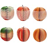 Memo Notes - 6-Pack 3D Fruit-Shaped Memo Pads for Students, Home, Desk Decorations, Office Supplies, Apple, Orange, Pineapple, 3.5 x 3.5 x 3.5 Inches