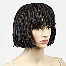"""12"""" Synthetic Braided wig Short Bob Wigs with Bangs Brown Synthetic Hair Wig Box Braided Wigs for Women(12 inch, #Brown)"""