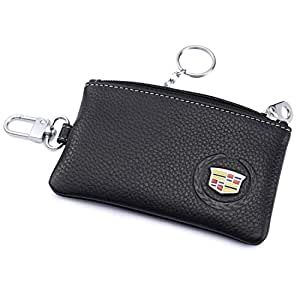 Cadillac Car Key Holder Remote Cover Fob with 1 Metal Keychain - Genuine Leather