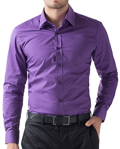 PAUL JONES Men's Fitted Dress Shirt Purple Button up Shirts Long Sleeve (M) -