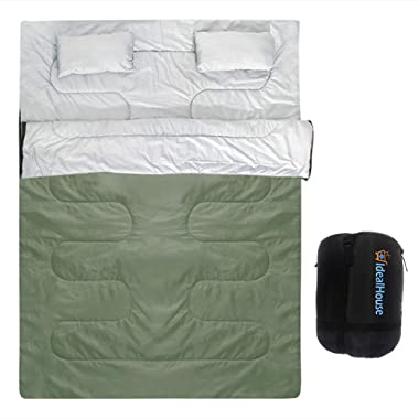 IDEALHOUSE Double Sleeping Bag, Waterproof 2 Person Sleeping Bag for Adults with Carry Bag and 2 Pillows, Perfect Sleeping Bag for Traveling,Camping,Hiking,Outdoor&Music Festivals and more-Green