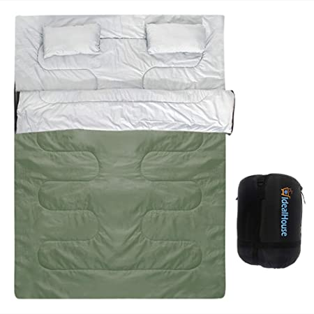 IDEALHOUSE Double Sleeping Bag, Waterproof 2 Person Sleeping Bag for Adults with Carry Bag and 2 Pillows, Perfect for Traveling,Camping,Hiking,Outdoor Music Festivals and more-Green