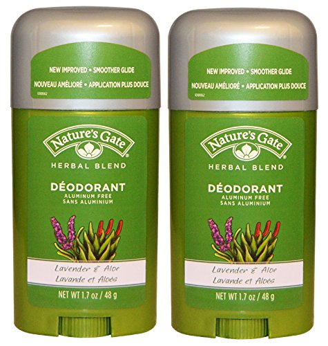 Nature's Gate Herbal Blend Lavender and Aloe Deodorant (Pack of 2) With Lavender Leaf Oil, Licorice Root Extract and Aloe Leaf Extract, 1.7 oz Each - Herbal Extract Blend