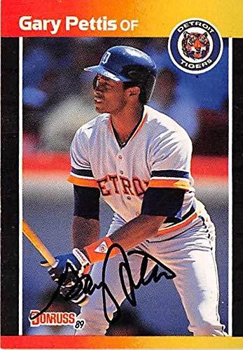 Gary Pettis Autographed Baseball Card Detroit Tigers 1989 Donruss