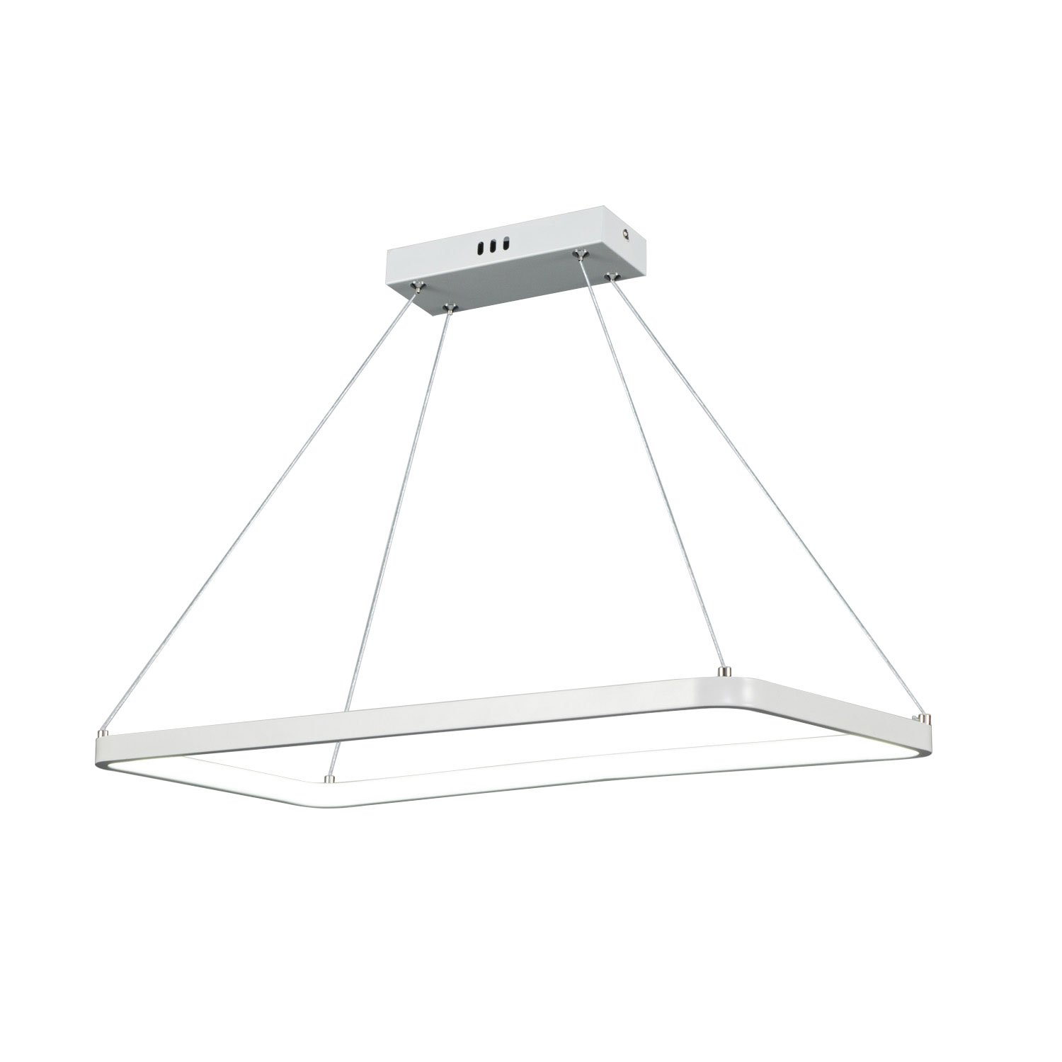 Unitary Brand Modern White Acrylic Rectangle Nature White LED Pendant Light with Max 15W Painted Finish