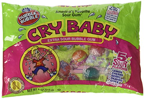 Dubble Bubble, Bubble Gum Cry Baby Extra Sour Candy (4 Ounce Bag) (Bubble Baby Gum)