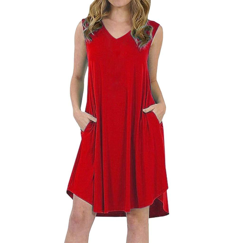 Women Summer Sleeveless Casual V Neck Swing Dresses Mini Dress with Pocket (XL, Red)