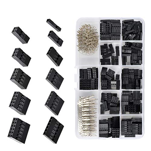QLOUNI 620Pcs 2.54mm Pitch JST SM 1 2 3 4 5 6 Pin Housing Connector Dupont Male Female Crimp Pins Adaptor Assortment Kit ()