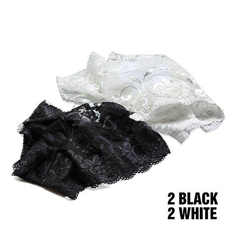 Harson&Jane Ropa Interior Suave de la ropa Interior de Las Bragas Atractivas de La Entrepierna del Algodón de la Tela Suave del Cordón de las Mujeres 4 Paquetes 01
