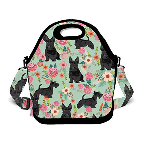 Box School Womens (OKAYDECOR Black Scottie Dog Wallpaper Waterproof Neoprene Lunch Tote Bag/Box Neoprene Tote for Travel and Picnic School)