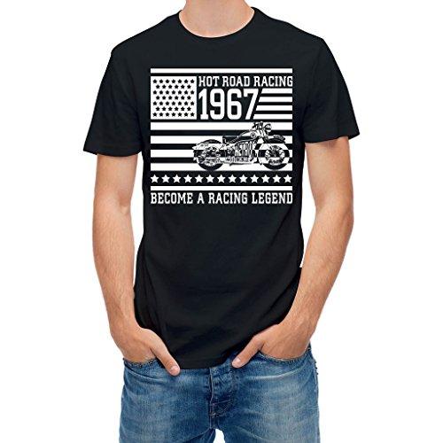 (T-shirt Hot road racing motorcycle legend Black S)