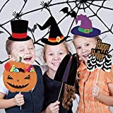 Halloween Photo Booth Props 66 Pcs Photography Shooting Prop DIY Kit Novelty Dress Up Accessories Trick or Treat Funny with Sticks Mask Rope for Party Supplies Decorations Kids Adults Birthday Gift
