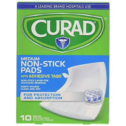 Curad Non-Stick Pads With Adhesive Tabs 3 Inches X 4 Inches 10 Each (Pack of - Inch Pads Adhesive 3