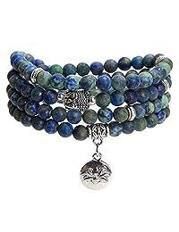Bivei Mala Beads Bracelet, Natural Gemstone Prayer Mala Beads Lutos Charm 108 Mala Beads Meditation Necklace