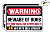 Beware of Dog Sign,Faittoo 2 Pack Large 10'' x 7'' Thick 0.40 Rust Free Heavy Duty Aluminum - UV Printed - Fade Resistant - Reflective - Indoor Or Outdoor Use - Easy to Mount