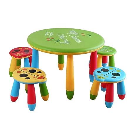 SHLFJQ Kinder Infantil Mesa Juego de sillas de plástico bebé de ...