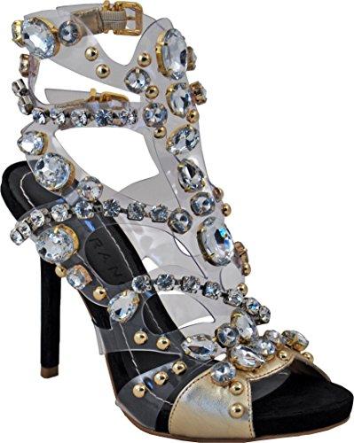 Carrano Laura Kvinna Läder / Klar Plast Stilett Sandal Guld