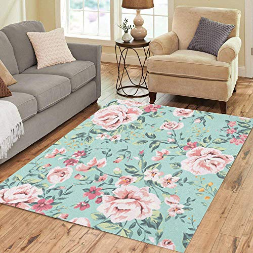 Pinbeam Area Rug Pink Floral Vintage Flower Pattern on Navy Green Home Decor Floor Rug 5' x 7' Carpet