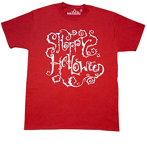 inktastic Happy Halloween- Hand Lettering with Thorny Vines T-Shirt Medium (Red Vines Halloween)